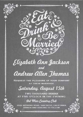 Chalkboard Wedding Invitation. Eat Drink And Be Married Vintage Invite By  Pj_design. Click On