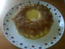Pineapple Upside Down Cake.  Pampered Chef Recipe....  Melt 1 cup dark brown sugar, 1 can crushed pineapple, 1 stick butter in pan. Let cool, pour into stoneware fluted pan. Mix pineapple cake mix with 3 eggs, & 16 oz sour cream together. Pour onto the pineapple mixture.  Bake in the microwave 13-15 minutes or until tester comes out clean.