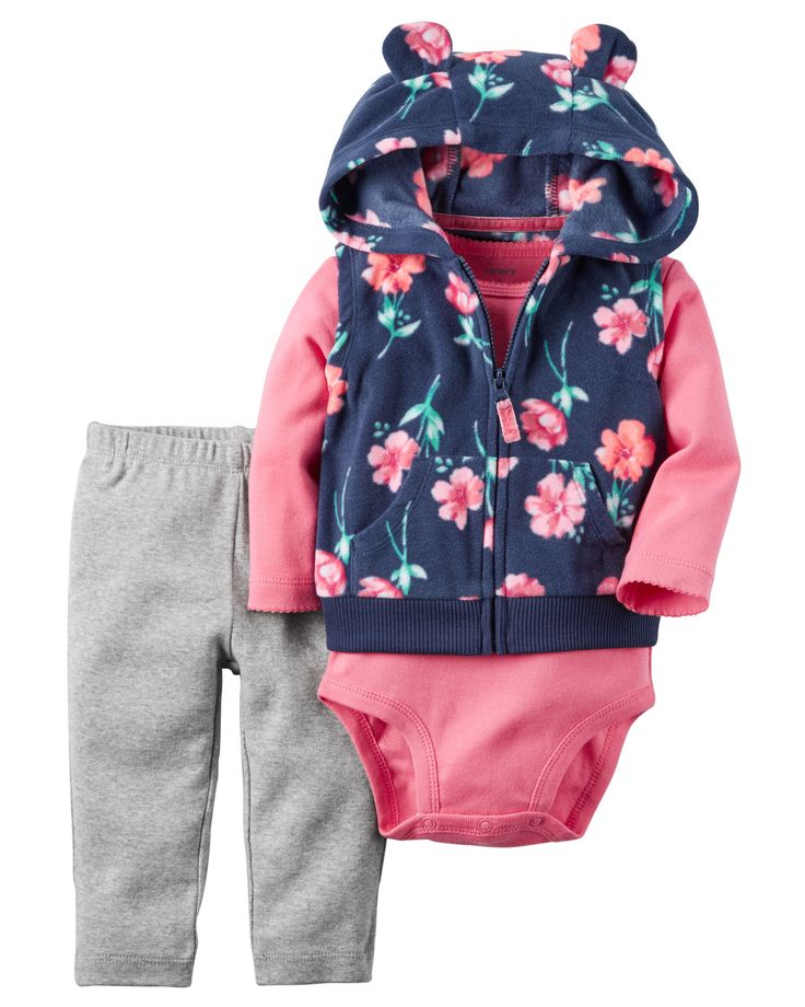 Crafted in plush fleece with a cozy animal ear hood, this floral-printed vest set is complete with a soft cotton bodysuit and pants.