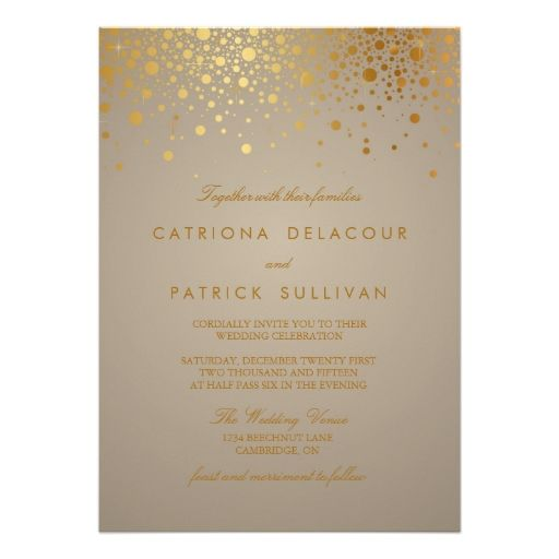 Gold Foil Confetti Dots Modern Wedding Invitation