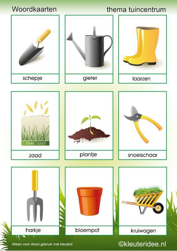 Woordkaarten thema tuincentrum, kleuteridee, free printable.