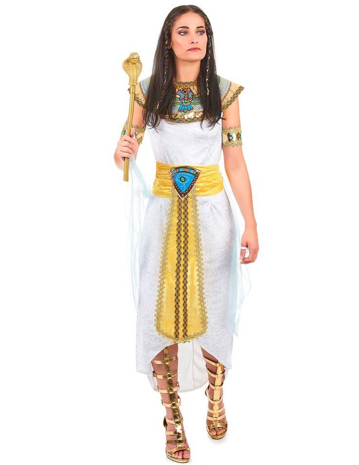 Disfraz de reina egipcia para mujer: Este disfraz de reina egipcia para mujer se compone de un vestido con velo, un cuello, una cinta para el pelo, dos brazaletes y un cinturón. El vestido es largo y ligero, de imitación...