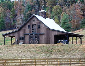 Brown and black barn