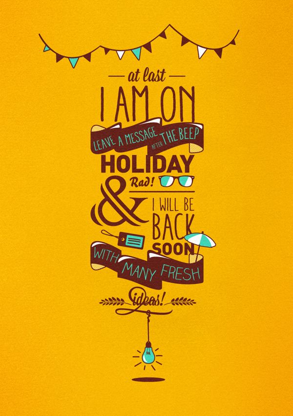 I am on Holiday! by Marie Brun, via Behance