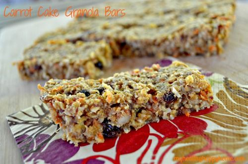 Carrot Cake Granola Bars-leave out the sweetener and this is virgin diet friendly! With gluten free oats.