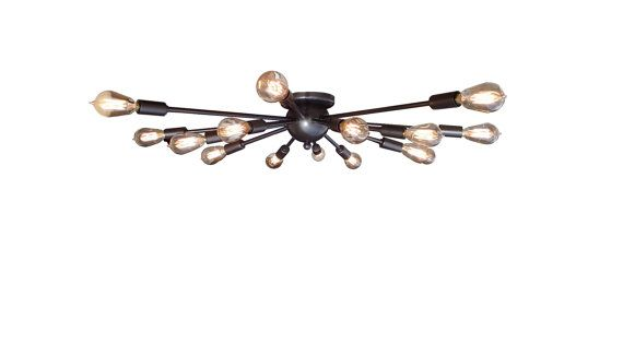 This flush-mount ceiling light will illuminate any room in the house, with style! Assembled with UL Listed components, this fixture will look and perform flawlessly for years to come without the headache of old or questionable wiring. Shown in Oil Rubbed Bronze with Edison bulbs, many other great finishes are available to make it your own and will match any decor or style!  Light Specifications:  - 16 Arms - Overall Diameter: 30 - Overall Height: 5 - UL Listed components - Socket rating…