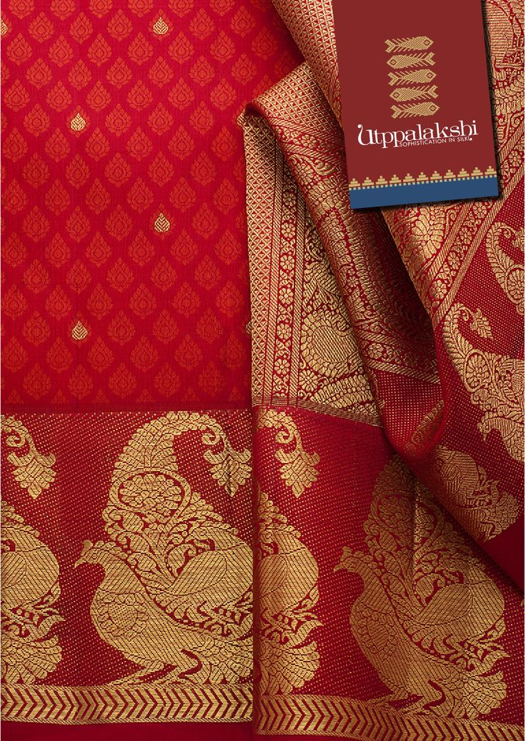 Steadfast in style and splendour is this radiant saree in scarlet red and gold. The pallu is replete with mayil kan zari work and resplendent birds, who own the border too.#Sareeoftheday#Silksaree#Kancheevaramsilksaree#Kanchipuramsilks#Ethinc#Indian #traditional #dress#wedding #silk#saree#craftsmanship #weaving#Chennai #boutique#vibrant#exquisit #pure #weddingsaree#sareedesign#colorful #elite