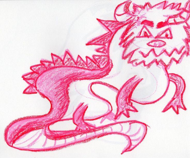 créature fantastique monstre taureau fuschia 1200