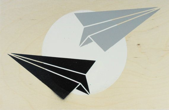 Stencil Art, Paper Planes on Plywood, Paper Plane, Original Art  #origami #origamiArt #cuteOrigami #Ply #Plywood