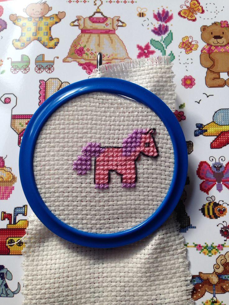 Little pink unicorn bookmarker cross stitch