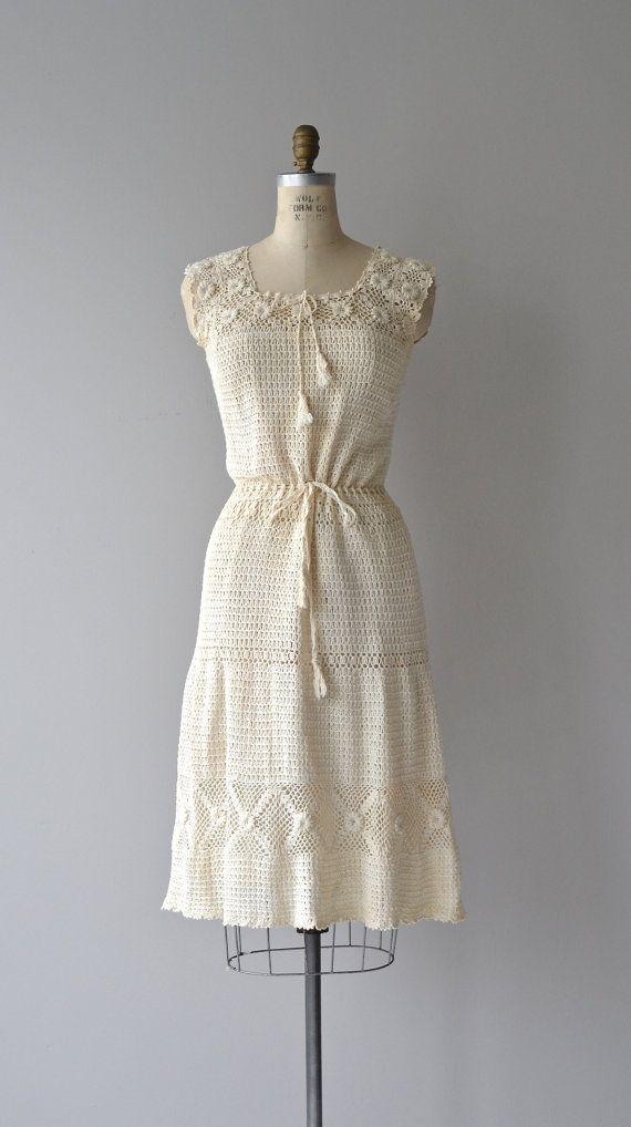 Hidden Hills dress cotton crochet dress 1970s by DearGolden