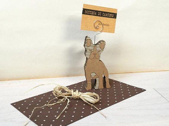 Bulldog francese cane di cartone porta card di bottegadicartone