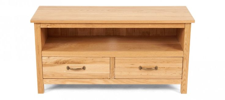 Simple Oak TV Unit with Drawers   Hampton Oak TV Unit with two Drawers