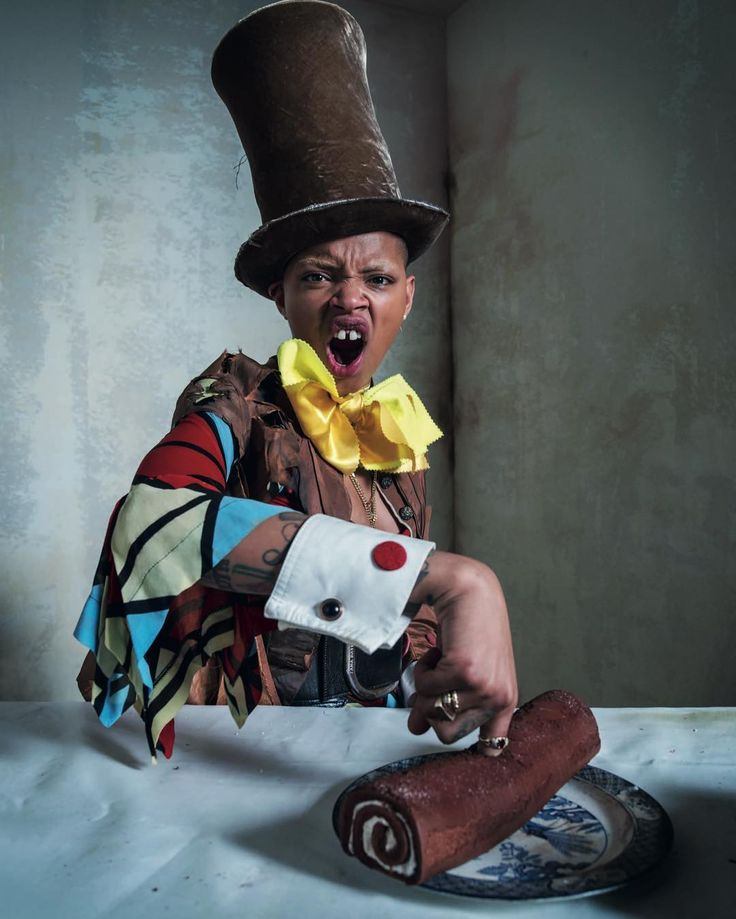 Slick Woods as The Madhatter photographed by Tim Walker for the 'Alice in Wonderland' themed 2018 Pirelli calendar. Styled by Edward Enninful.