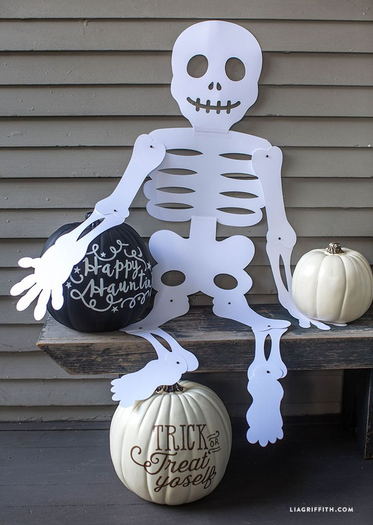 "Check out this great Halloween party décor cutout by Lia Griffith. It's 19"" tall from head to foot and you can pose him any way you want just in time for trick-or-treaters. Includes a template for a mini version!"