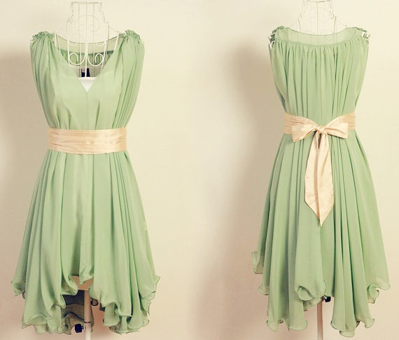 Trendy Princess Skirts for Date,Traveling,Outdoor, - Green Chiffon Belt Dress