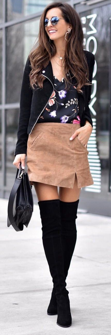 #spring #outfits woman in black zip-up coat, floral top and brown skirt. Pic by @myviewinheels
