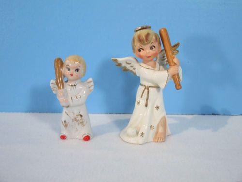 Angels-Playing-Baseball-Figurine-Lot-of-5-Vintage-Japan-Napco-Ucago-Boys-Balls