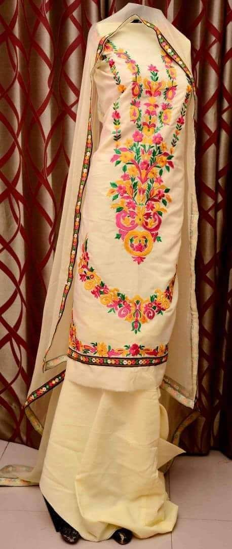 Pure Cotton Embroidered Suit in Beige Color With Pure Chinon Chiffon Dupatta