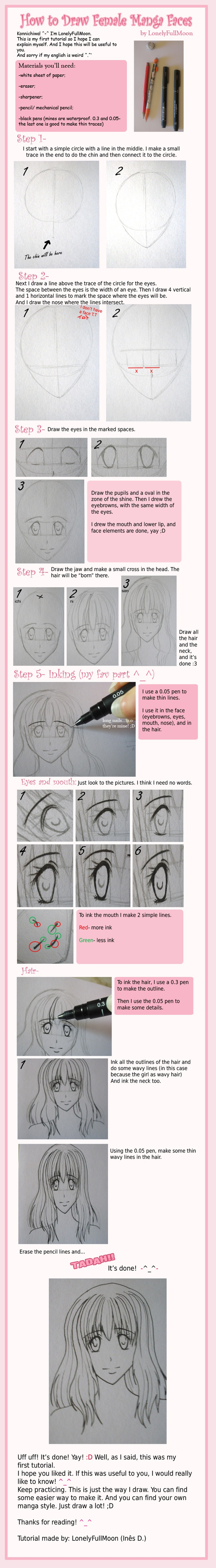 How to Draw Female Manga Faces by LonelyFullMoon on deviantART
