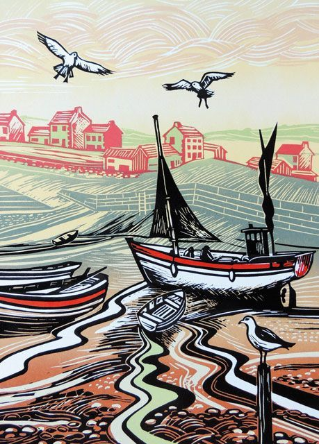 'Harbour At Low Tide' by Printmaker Rob Barnes. Blank Art Cards By Green Pebble. www.greenpebble.co.uk