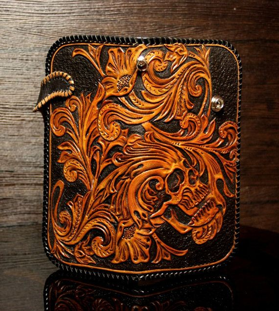 Gorgeous handmade genuine leather biker wallet with