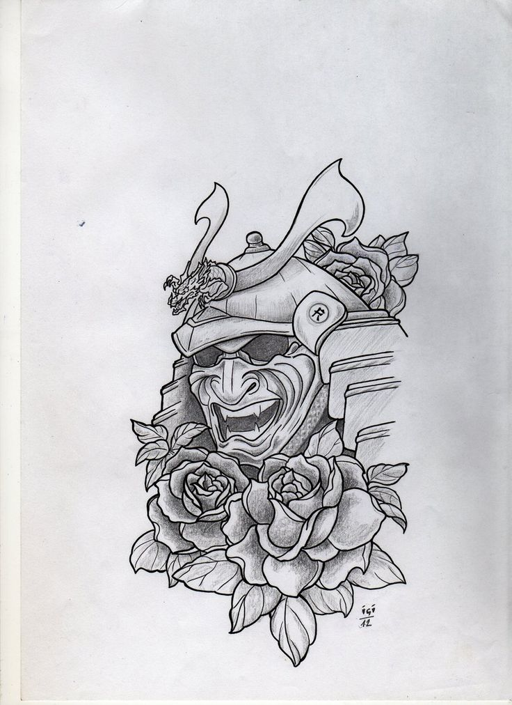 I like the idea of the Samurai mask with flowers. In my theme they would be water lilies.