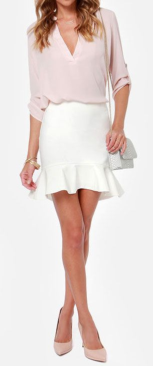 trumpet skirt should be knee length, but love the soft simple blouse and nude pointed heels