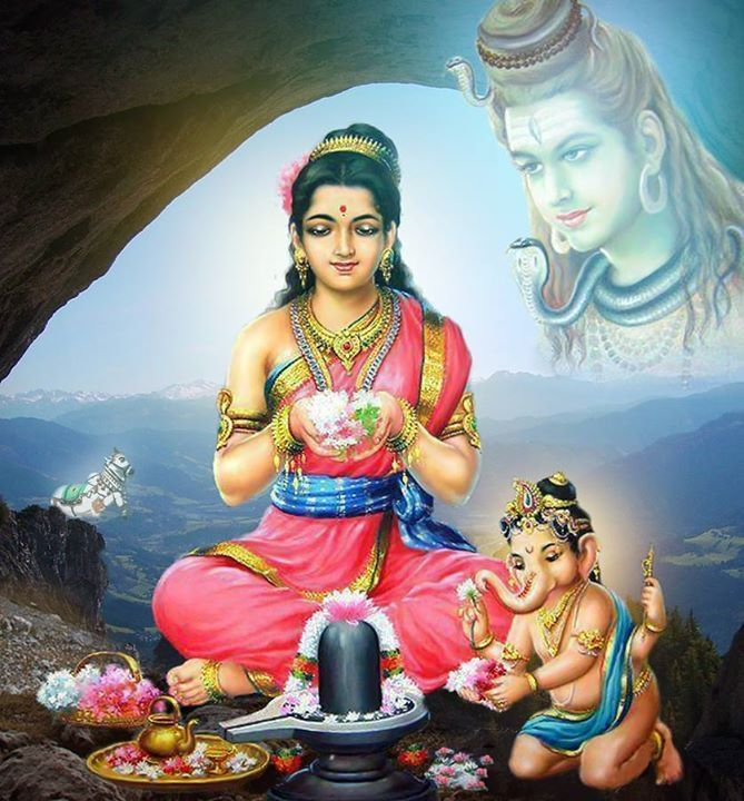 Parvati and Ganesh praying to Shiva Linga