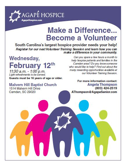 Want to be a Volunteer? Please contact our Volunteer Coordinator, Angela Thompson, at (803) 424-2519. Help make a difference in our community and become a volunteer.