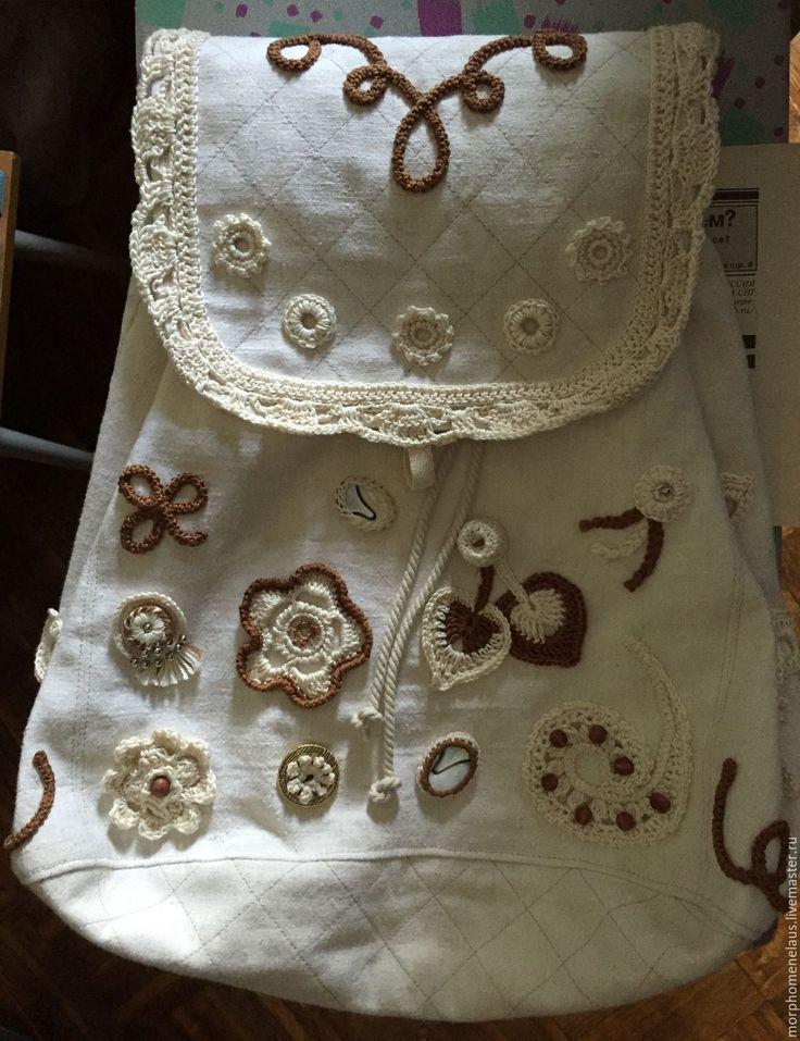 Купить Рюкзак из льна - рюкзак женский, лен, ирландские мотивы, белый цвет, цветочный орнамент