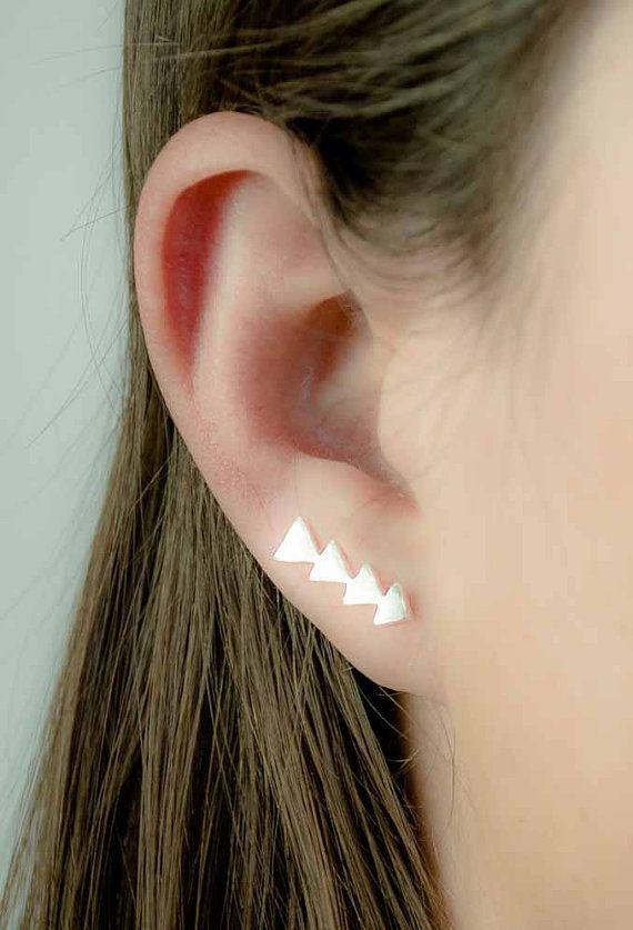 Silver Triangle Ear Pin, Brushed Sterling Silver, Silver Ear Sweep, Geometric Ear Cuff, Minimalistic, Modern Jewelry, Hand Made, Gift, EC007