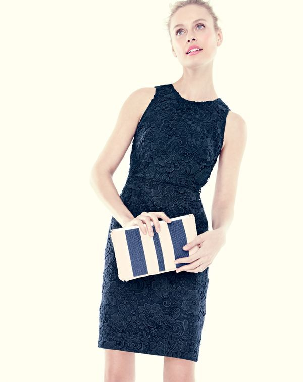 J.Crew women's floral lace sheath dress and woven striped clutch bag.