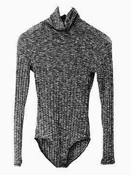 Shop Dark Gray Turtleneck Mixed Cable Knitted Bodysuit from choies.com .Free shipping Worldwide.$17.9