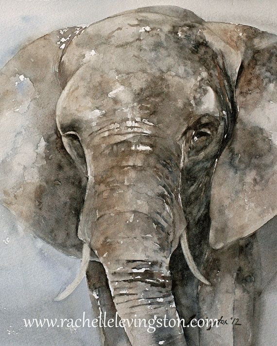 Large Elephant PRINT art Africa Home Decor 11 x14 Watercolor Elephant art Painting baby nursery decor wall decor grey blue gray brown jungle...