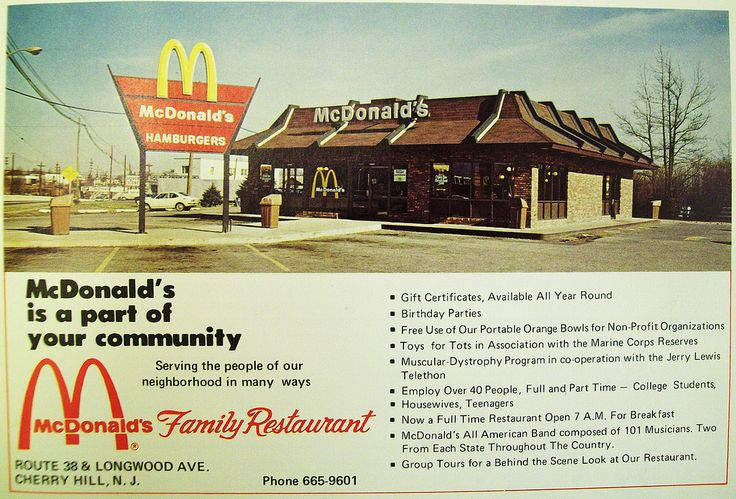 "https://flic.kr/p/ekm5wY | McDonald's Ad Longwood Ave Cherry Hill | This ad for the Longwood Avenue McDonald's in Cherry Hill, N.J. has a geat shot of a 1970's era McDonald's building. From ""This is Cherry Hill"" 1972 publication."