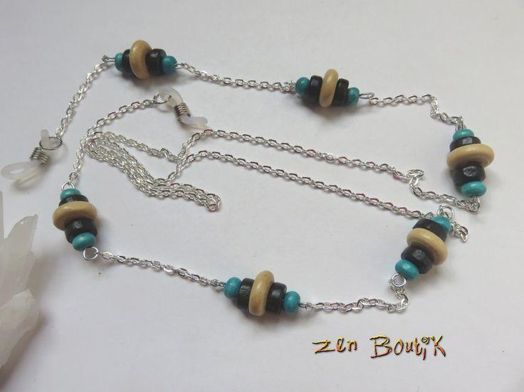 Cordon Lunettes Perles Bois et chaîne argentée : Lunettes, lunettes de soleil, cordons par zenboutik