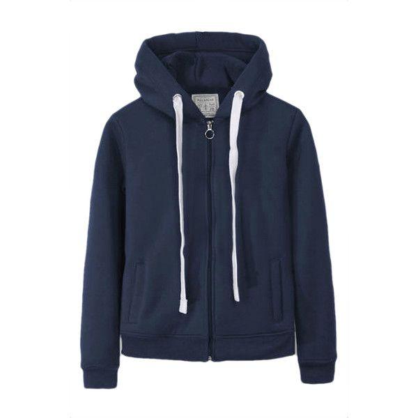 Navy Blue Casual Womens Sweatshirt Zipper Lined Plain Hoodie (40 CAD) ❤ liked on Polyvore featuring tops, hoodies, navy blue, sweat shirts, hooded sweatshirt, blue sweatshirt, navy blue hoodies and zip hooded sweatshirt
