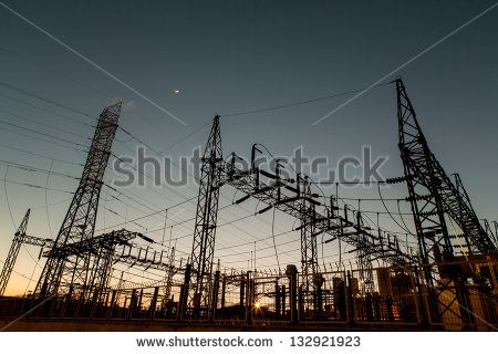 View of power station and  high voltage power pylons.