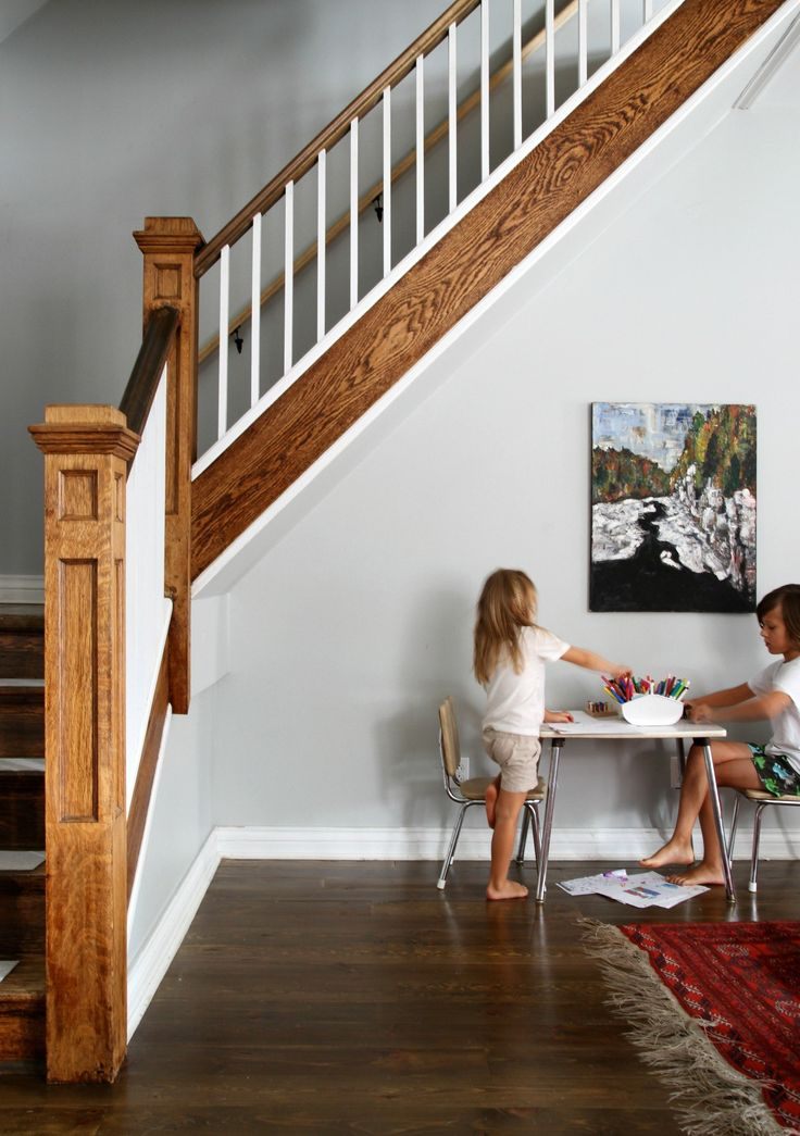 An art table under the stairs Family room design, Family