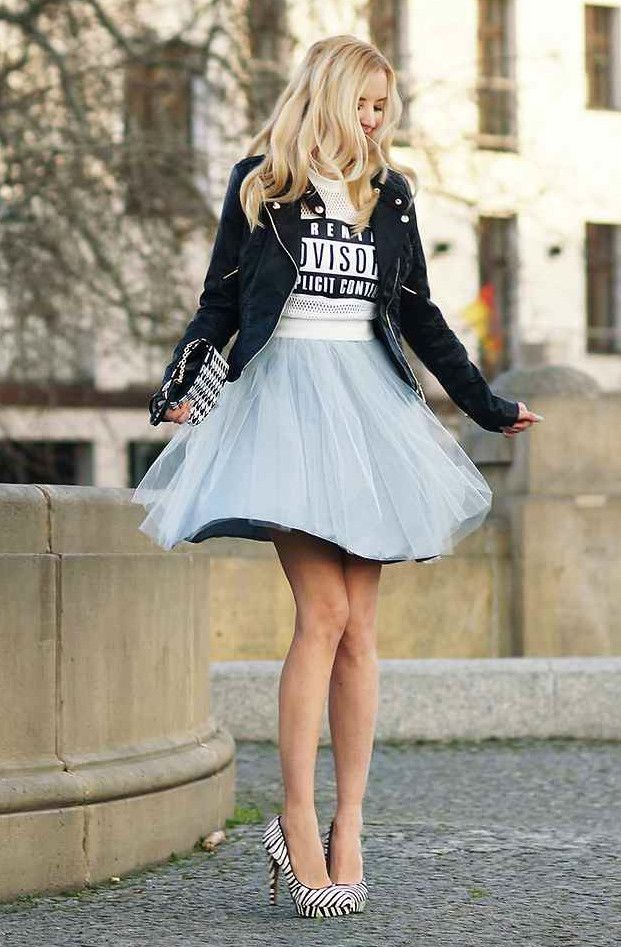 pale blue tulle flare skirt, graphic t, black leather jacket and heels: