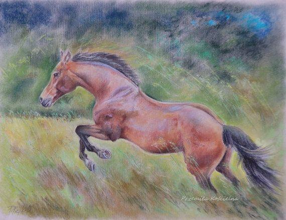 HORSE Original pastel drawing  Hand drawn by CanisArtStudio