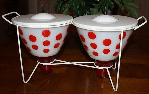 RARE Vintage Fire King Red Polka Dot Chafing Dish Bowl Set with Stand Lids | 90