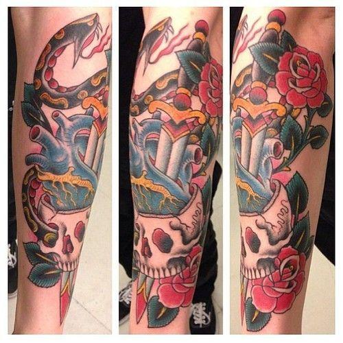 Artist Oliver Peck, Dagger, Snake, Rose and Skull. Done by Oliver Peck