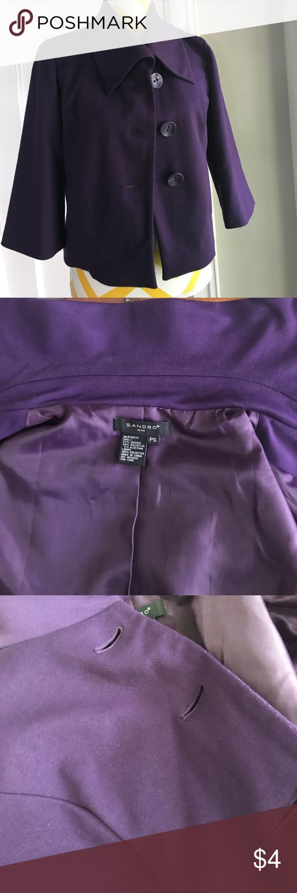 Purple ladies cropped blazer size PS Purple ladies cropped blazer size PS- used condition- pilling and a little bit of wear in the inside of the collar, overall a great piece for someone looking to add to their workwear collection without spending a lot. The jacket has pockets as well and it is cute with black pants or skirt. Jackets & Coats Blazers