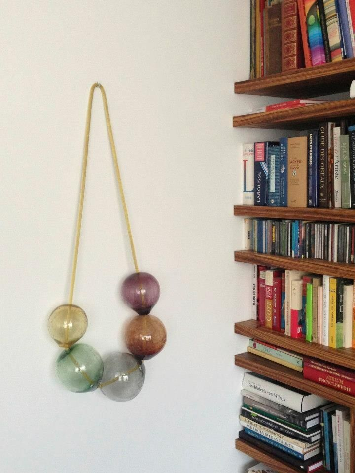 LaLouL.be - Wall Sculpture - 'Bubbles II' - Mouth Blown Glass on a brass chain