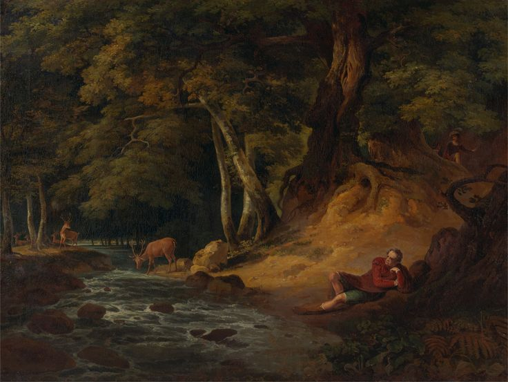 Jacques and the Wounded Stag: 'As You Like It,' Act II, Scene i. Landscape by William Hodges, Figures by George Romney, Stag possibly by Sawrey Gilpin. 1790.