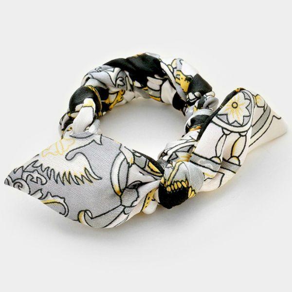 Braided Scarf Stretch Bracelet - Gray