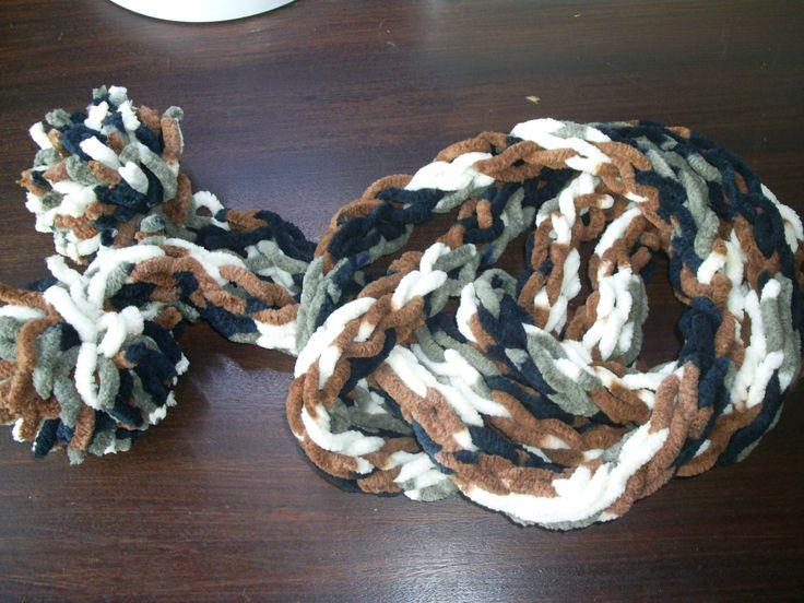 Écharpe tricot en fil de velours, chiné Marron,Gris,Beige, Noire. long 2,90 mètres : Echarpe, foulard, cravate par atelier-g