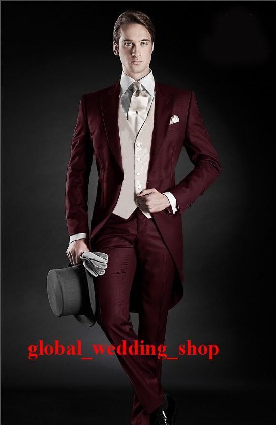 2015 Morning Style Groom Tuxedos Peak Lapel Men'S Suit Burgundy Groomsman/Best Man Wedding/Dinner Suits Jacket+Pants+Tie+Vest Mens Tuxedo Styles Mens Tuxedos Rentals From Global_wedding_shop, $72.56| Dhgate.Com